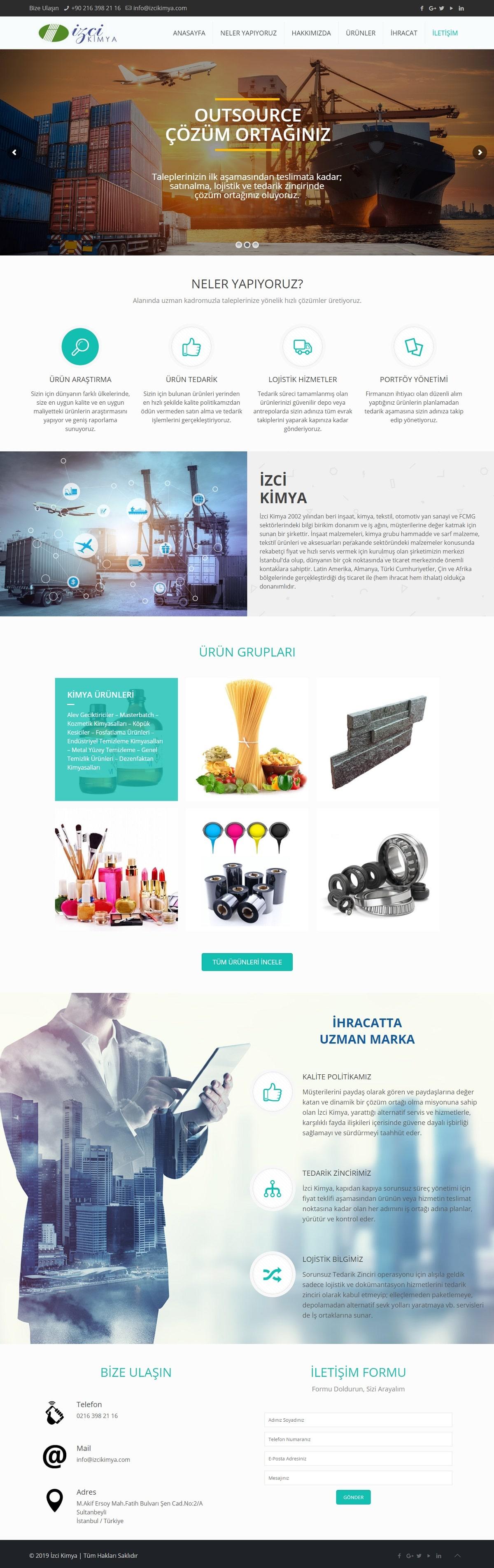 İzci Kimya Web Sitesi | Kimya Firması Web Sitesi