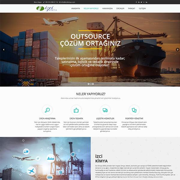 İzci kimya kurumsal web sitesi, ithalat ihracat web sitesi