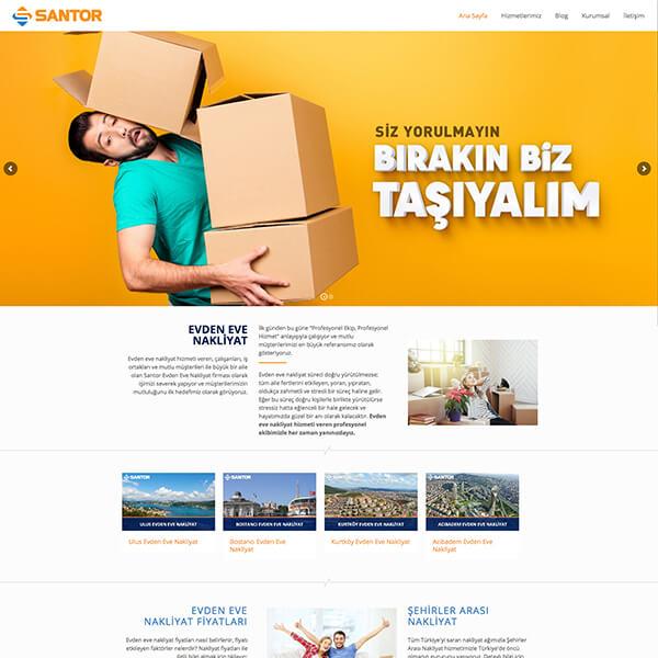 Santor evden eve nakliyat web sitesi, nakliye web sitesi, nakliyat firması web sitesi