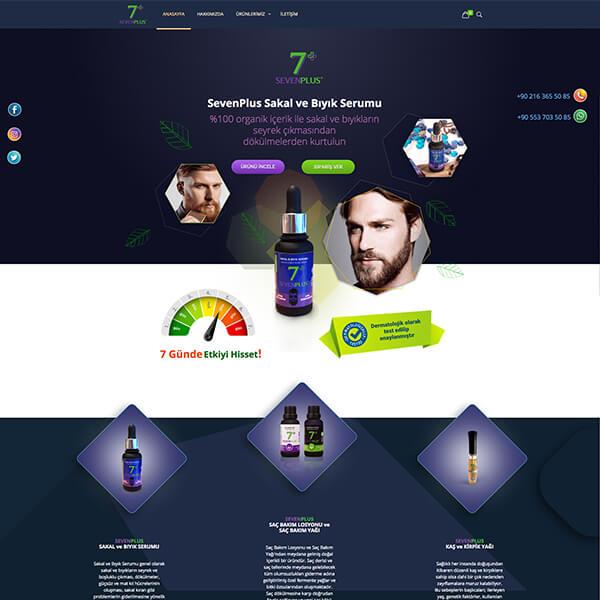 Sevenplus eticaret web sitesi, sakal ve bıyık serumu, saç yağı, kaş kirpik yağı